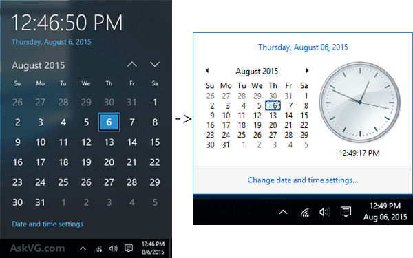 Windows 10 Calendar Flyout Change1