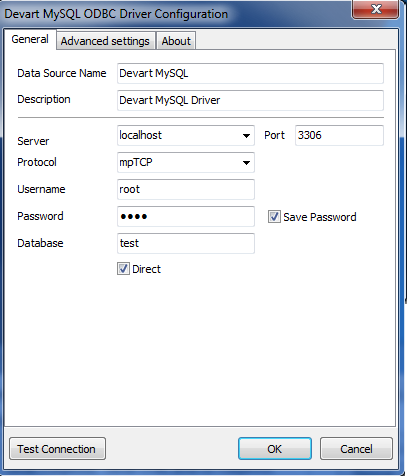 connection settings mysql direct