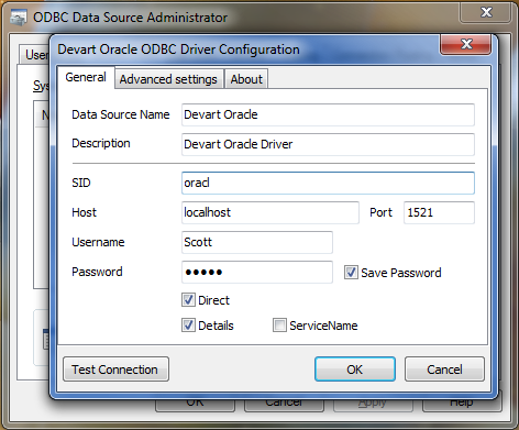 connection settings oracle direct