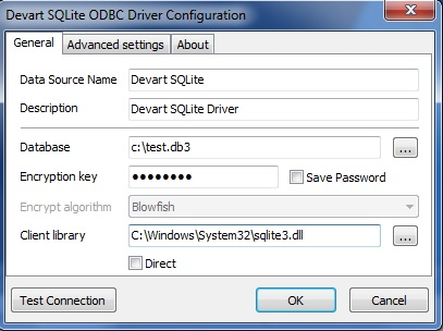 connection settings sqlite