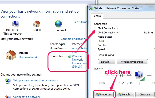 access-network-connection-status-window1